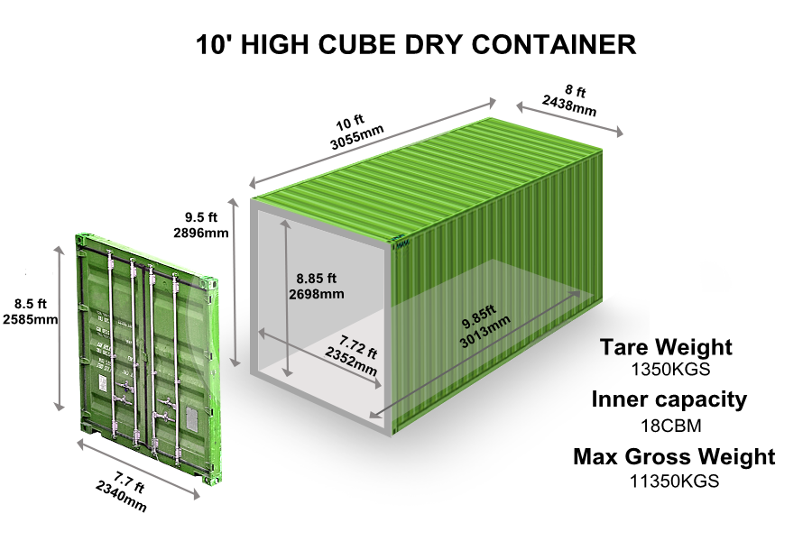 10' HIGH CUBE DRY CONTAINER