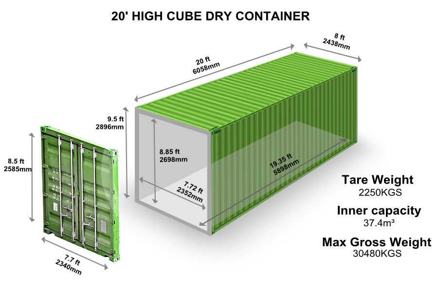 20' HIGH CUBE DRY CONTAINER