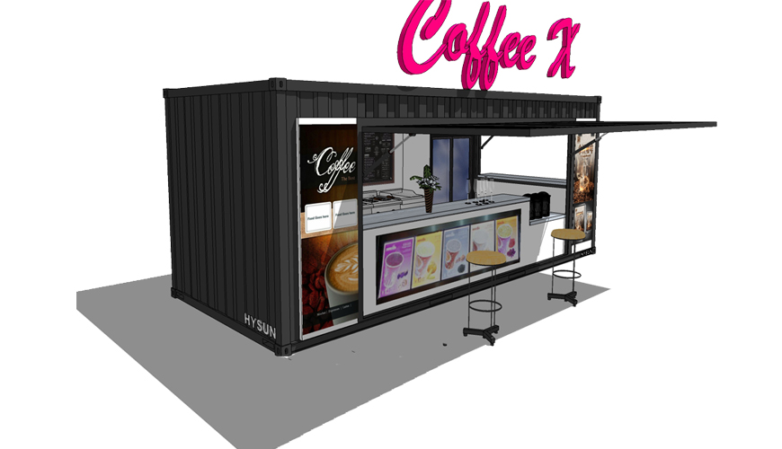 Q017 HYSUN Pop-Up Coffee Shop Modified Mobile 20ft Shipping Container Coffee Shop Bar for Sale with New Design