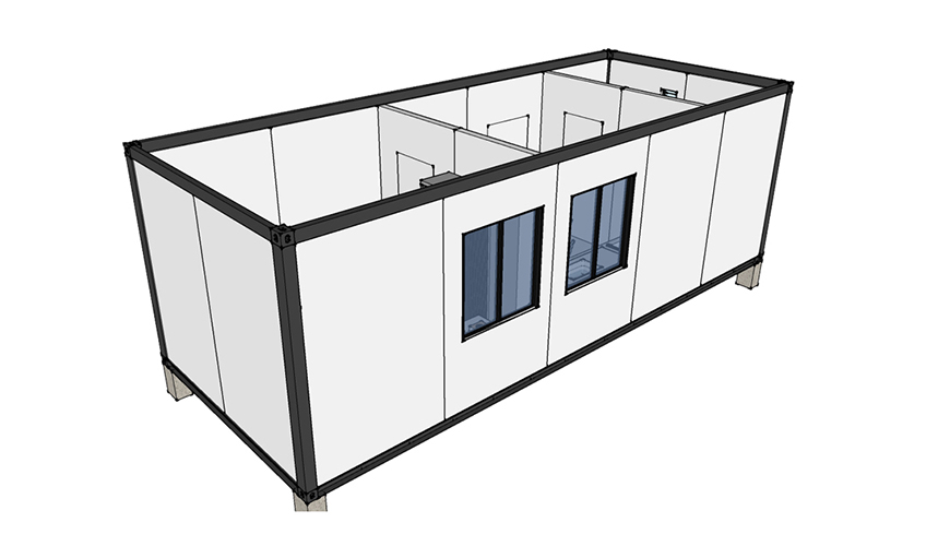 HY-A223 HYSUN modular flat pack sandwich container house flat pack container dormitory accommodation house 20ft building container