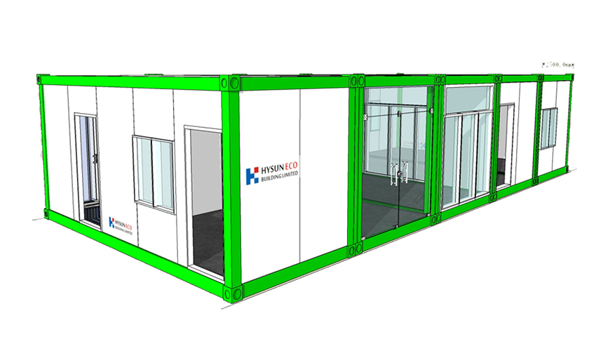 HY-A243 HYSUN pre-made low-cost prefab customized container shop prefab office mobile modular house home flat pack container