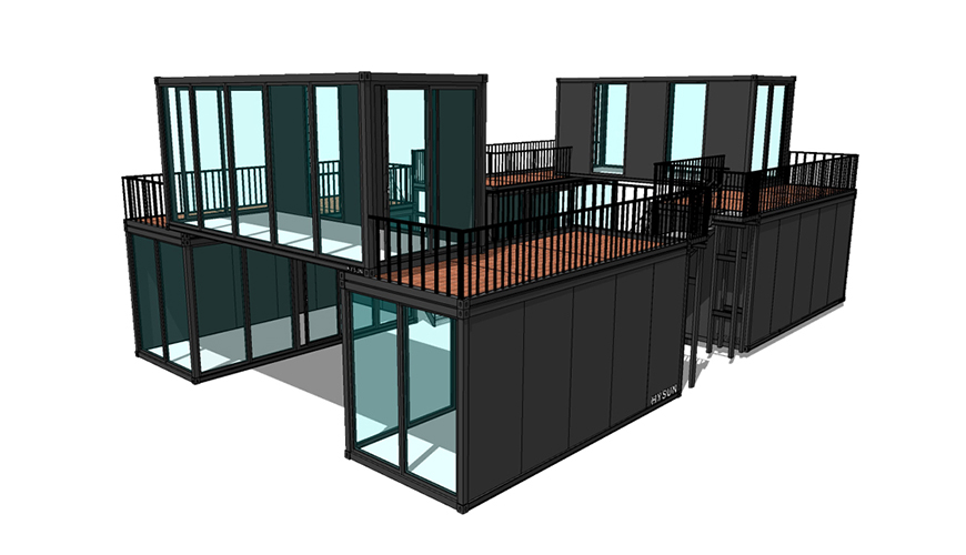 HY-A244 HYSUN Multifunction Customized Luxury 20ft Container Flat Pack Prefab Container House Prefabricated for Sales