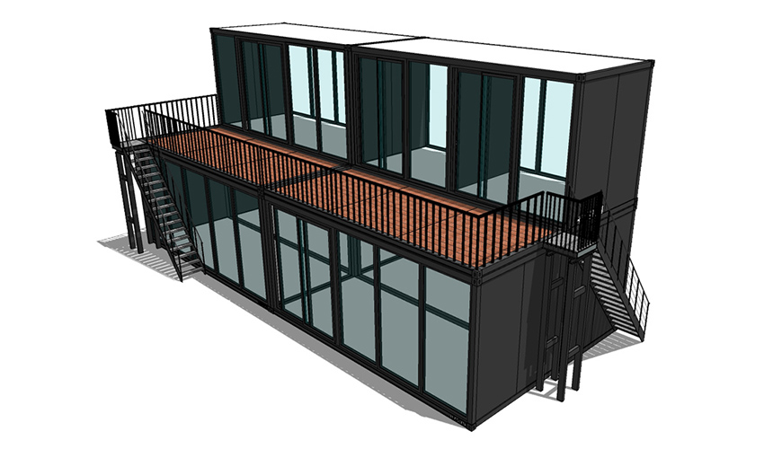 HY-A245 HYSUN two-floor luxury flat pack container house for home or office customized  modern container home flat pack