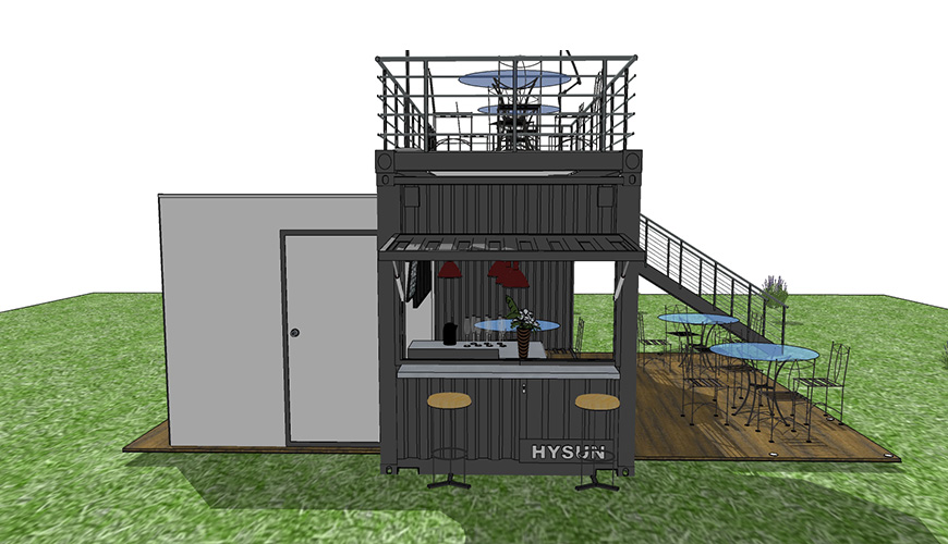 HY-Y011 HYSUN modular popular portable mobile prefab shipping container cafe bar new design 20HQ pod-out modified container coffee shop