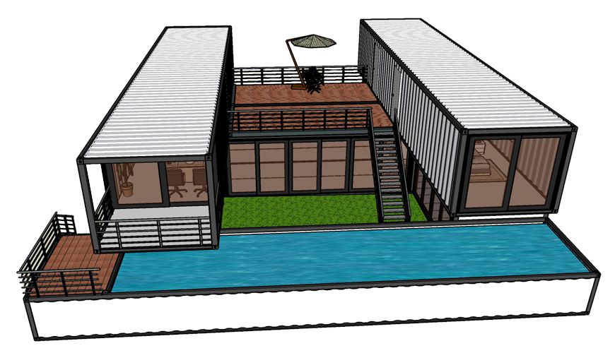 HY-M304 Hysun 2 story prefabricated mobile modified 40 ft shipping container living house luxury prefab homes apartments office